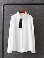 Women's Going out Casual/Daily Sexy Simple Street chic Spring Fall Shirt,Solid Shirt Collar Long Sleeves Silk Thin Medium