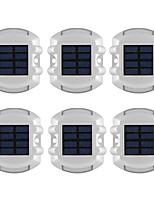 6PCS Aluminum Solar 6-LED Outdoor Road Driveway Dock Path Ground Light Lamp