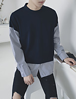 Men's Casual/Daily Simple Sweatshirt Striped Round Neck Micro-elastic Others Long Sleeve Fall