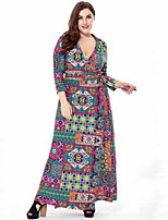 Women's Plus Size Casual/Daily Street chic Swing Dress,Print V Neck Maxi 3/4 Length Sleeves Polyester Spring Fall High Rise Micro-elastic