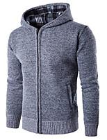 Standard Pullover Da uomo-Casual Tinta unita Con cappuccio Manica lunga Altro Primavera Inverno Medio spessore Media elasticità