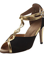 Women's Latin Satin Sandal Performance Splicing Stiletto Heel Black/Gold 3