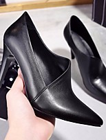 Women's Shoes Real Leather Spring Fall Comfort Heels Stiletto Heel Pointed Toe For Casual Black