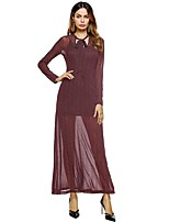 SUOQI Women's Party Going out Sexy Bodycon Dress,Striped Asymmetrical Maxi Long Sleeves Polyester Fall Mid Rise Micro-elastic Medium