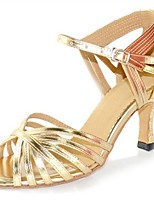Women's Latin Leatherette Sandal Heel Professional Buckle Customized Heel Gold 1 - 1 3/4 2 - 2 3/4 3 - 3 3/4 4 & Up Customizable