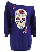 Women's Plus Size Casual/Daily Sexy Street chic Active Spring Fall T-shirt,Print Off Shoulder Long Sleeves Polyester Medium