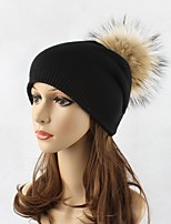 Women Wool Acrylic Raccoon Fur Floppy Hat Ski Hat,Hat Knitwear Hats Solid Winter Pure Color