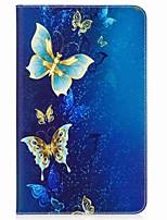 carteira de suporte de cartão de padrão de borboleta com suporte flip caixa de couro magnética pu para samsung galaxy tab a 10.1 t580n