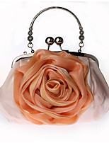 Women Bags All Seasons Silk Tote Flower(s) for Wedding Event/Party Black Silver Milky White Purple