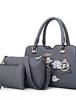 Women Bags All Seasons PU Bag Set 3 Pcs Purse Set Zipper for Shopping Casual Black Red Blushing Pink Gray Army Green