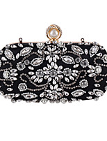Women Bags All Seasons Polyester Evening Bag Appliques Crystal Detailing Pearl Detailing Sequins for Wedding Event/Party Black Almond