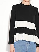 Feminino Camiseta Feriado Casual Simples Moda de Rua Outono,Estampa Colorida Algodão Gola Redonda Manga Longa