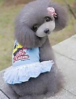 Dog Dress Dog Clothes Casual/Daily Princess Blushing Pink Blue
