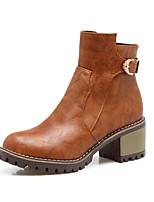 Feminino Sapatos Courino Outono Inverno Botas da Moda Curta/Ankle Botas Salto Grosso Ponta Redonda Botas Curtas / Ankle Presilha Ziper