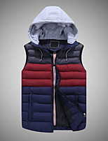 Men's Short Padded Coat,Simple Active Casual/Daily Striped Color Block-Cotton Polyester Sleeveless