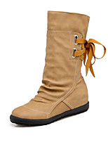 Women's Shoes Leatherette Fall Winter Fashion Boots Boots Flat Heel Round Toe Mid-Calf Boots Lace-up Tassel For Casual Dress Yellow Gray
