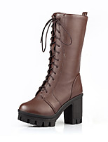 Women's Shoes PU Fall Winter Comfort Novelty Fashion Boots Boots Chunky Heel Round Toe Thigh-high Boots Lace-up For Office & Career Dress