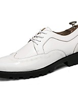 Men's Shoes PU Spring Fall Light Soles Oxfords Lace-up For Casual Blue Black White