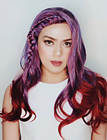 Women Synthetic Wig Lace Front Long Curly Natural Wave Bright Purple Braided Wig Ombre Hair Highlighted/Balayage Hair Party Wig Celebrity