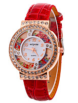 Women's Fashion Watch Wrist watch Floating Crystal Watch Quartz Leather Band Cool Casual Black White Red Purple
