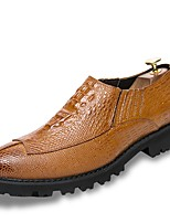 Men's Shoes Leatherette Spring Fall Comfort Loafers & Slip-Ons Split Joint For Casual Red Yellow Black