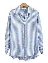 Women's Holiday Casual/Daily Simple Street chic Fall Shirt,Striped Shirt Collar Long Sleeves Polyester