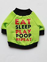 Dog Sweatshirt Dog Clothes Casual/Daily Letter & Number Green Dark Blue