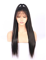 Women Human Hair Lace Wig Glueless Full Lace 150% Density With Baby Hair Straight Wigs Brazilian Hair Black Long Natural Hairline