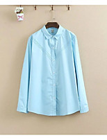 Women's Going out Casual/Daily Simple Cute Street chic Spring Fall Shirt,Solid Shirt Collar Long Sleeves Cotton Thin Medium