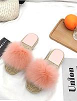 Women's Shoes Synthetic Microfiber PU Fleece Summer Fall Comfort Slippers & Flip-Flops Flat Heel Open Toe Pom-pom For Casual Dress