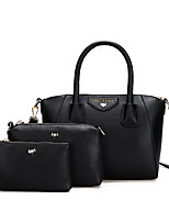 Women Bags All Seasons PU Bag Set Zipper for Casual Office & Career Black Blushing Pink Purple Light Green
