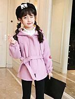 Girls' Embroidered Trench Coat,Polyester Fall Winter Long Sleeve