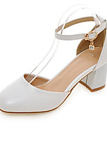 Women's Shoes PU Spring Fall Comfort Heels Chunky Heel Round Toe Buckle For Office & Career Dress Blushing Pink Blue Beige Black White