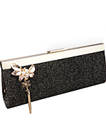 Women Bags All Seasons Other Leather Type Evening Bag Flower(s) Pearl Detailing for Wedding Event/Party Black