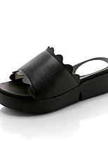 Da donna Scarpe PU (Poliuretano) Estate Comoda Pantofole e infradito Piatto Occhio di pernice Per Casual Bianco Nero