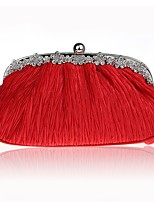 Women Bags All Seasons Silk Evening Bag Ruffles for Wedding Event/Party Black Red Purple