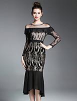 Fodero Vestito Da donna-Per uscire Casual Semplice Con stampe Rotonda Medio Manica lunga Cotone Altro Primavera Autunno A vita medio-alta