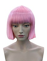 Women Synthetic Wig Capless Short Straight Pink Bob Haircut With Bangs Party Wig Celebrity Wig Halloween Wig Cosplay Wig Natural Wigs