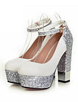 Women's Shoes PU Glitter Spring Fall Comfort Novelty Heels Chunky Heel Round Toe Buckle For Office & Career Dress Black White