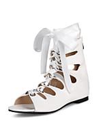 Feminino Sapatos Couro Ecológico Primavera Outono Conforto Inovador Botas Rasteiro Peep Toe Botas Curtas / Ankle Laço Tachas Cadarço Para