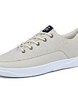 Men's Shoes PU Spring Fall Comfort Sneakers Lace-up For Casual Outdoor Beige Black White