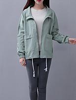 Impermeabile Da donna Casual Semplice Primavera Autunno,Tinta unita Colletto alla coreana Cotone Standard Manica lunga