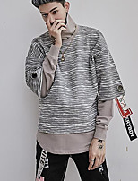 Men's Going out Sweatshirt Print Turtleneck Micro-elastic Cotton Long Sleeve Fall