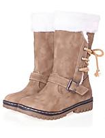 Mujer Zapatos PU Otoño Invierno Confort Innovador Botas de Moda Botas Tacón Plano Dedo redondo Mitad de Gemelo Con Cordón Para Vestido