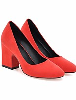 Women's Shoes Nubuck leather Spring Fall Comfort Heels Chunky Heel Square Toe For Office & Career Party & Evening Almond Blue Red Yellow