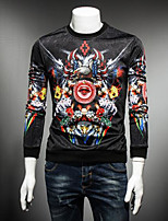 Men's Sports Sweatshirt Print Round Neck Micro-elastic Cotton Long Sleeve Fall