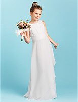 Sheath / Column Jewel Neck Floor Length Chiffon Junior Bridesmaid Dress with Pleats Ruching by LAN TING BRIDE®