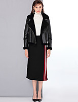 Mary Yan & Yu Women's Going out Casual/Daily Simple Vintage Cute Winter Fur Coat,Solid Shirt Collar Long Sleeve Short Wool