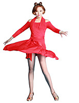 Latin Dance Women's Performance Milk Fiber Ice Silk 1 Piece Skirts