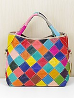 Women Bags Spring Summer Cowhide Tote Pockets for Casual Office & Career Rainbow